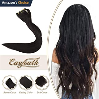 Easyouth 18inch Real Hair Clip in Extensions Off Black 1B 100g 7Pcs per Set Thick Hair Extensions Full Head Double Weft Clip in Human Hair Extensions