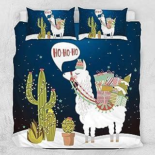 HUA JIE Funda Nórdica Navideña De Alpaca De 3 Piezas,Juegos De Cama Nave Blue Llama,Colcha De Animales De Cactus Y Estrellas,con Cierre De Cremallera Decoración De Dormitorios