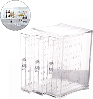 BESTOYARD Earring Display Box Organizer Holder Stand Jewelry Storage Box Acrylic with 3 Vertical Drawers