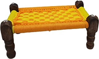 India Meets India Handmade Wooden Handcarved Old Cot Charpai with Ropes Statue, Showpiece, Best for Gifting, Made by Awarded Indian Artisans