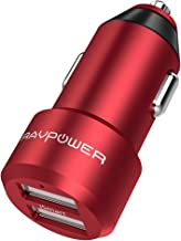 USB Car Charger RAVPower 24W 4.8A Metal Dual Car Adapter, Compatible iPhone 11 Pro Max Xs XS Max XR X 8 7 Plus, iPad Pro Air Mini, Galaxy S9 S8 S7 S6 Edge Note and More (Red)
