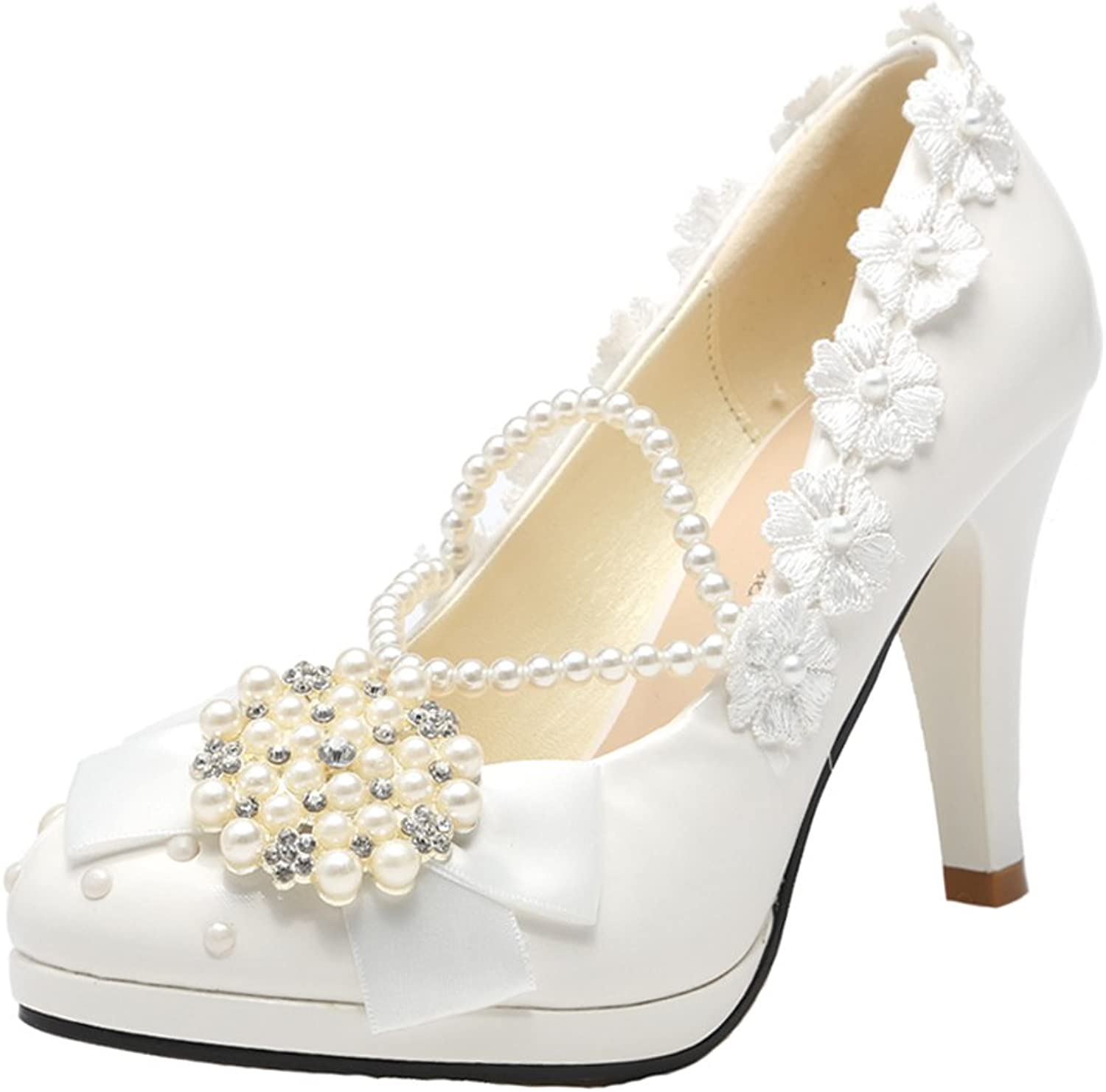 Getmorebeauty Women's Pink Lace Floral Flowers Wedding shoes High Heels