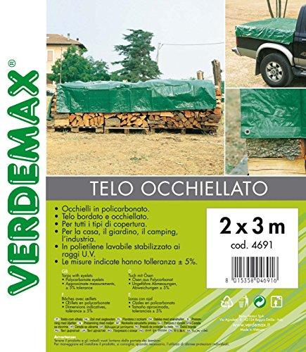 Verdemax 4693 90 g/m² 3 x 4 m Bâche avec Oeillets – Vert