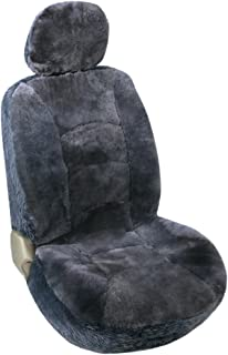 Leader Accessories Auto Genuine Sheepskin Seat Covers Grey 50/50 Low Back Front Seat Cover Protector for Cars Truck suv Warm in Winter Universal Fit