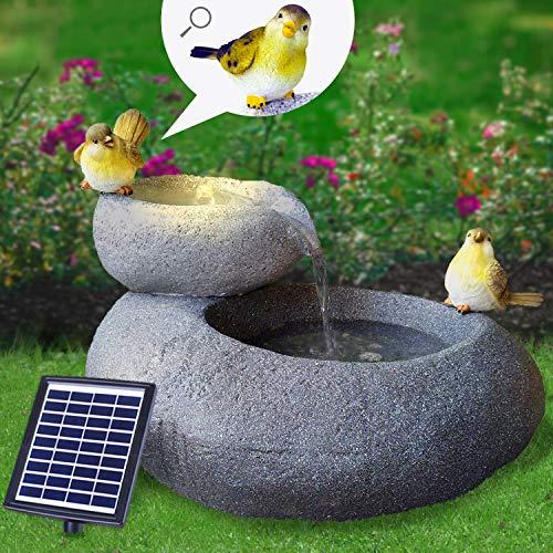 Solar Gartenbrunnen Brunnen Solarbrunnen Zierbrunnen Wasserfall Gartenleuchte Teichpumpe für Terrasse, Balkon, mit Pumpen-instant-Start-Funktion mit Liion-Akku & Led-Licht (FELS-SCHALEN)