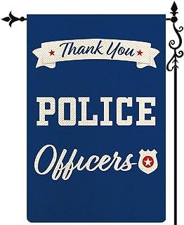 Coskaka Thank You Police Police Police Officers Garden Flag ، المستجيبين الأول تقدير عمودي مزدوج الجانب أزرق ريفي مزرعة ال...