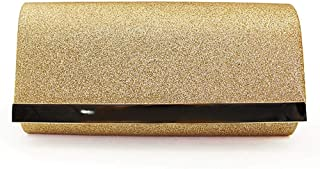 Dinner Europe And The United States Ladies Sequins Clutch Bag Shoulder Slung Chain Bag Casual Banquet Cross Section Square PU Female Bag Magnetic Buckle 27 * 5 * 13cm Grace (Color : Gold)