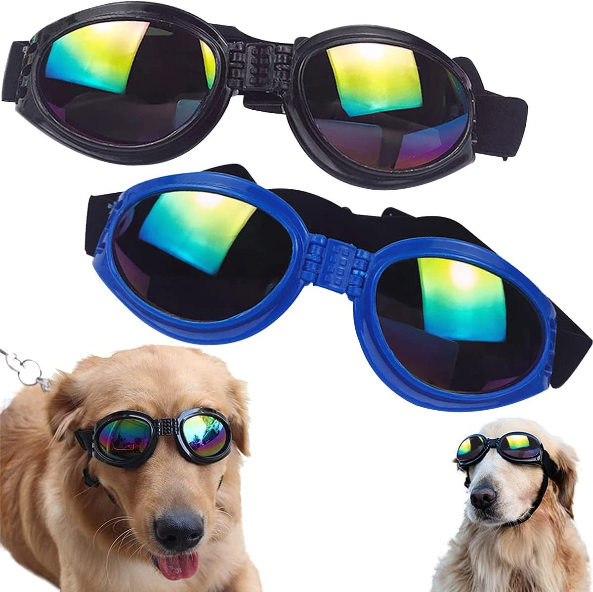 Gafas de Sol para Perros Tomicy Gafas de Sol para Mascotas, Gafas de Sol para Perros y Gatos, Gafas Ajustables para Perros Protección UV, Resistentes al Agua, Resistentes al Viento(Azul, Negro)