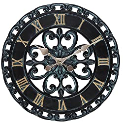 Lily's Home Hanging Verdigris Wall Clock, Ideal for Indoor or Outdoor Use, Makes a Great Housewarming Gift, Black (13 Inches)