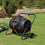 CRZJ Garden Compost Bin, 45 Gallon Yard Waste Bins, Compost Tumbler, Outdoor 360°Rotating Composter, with Wheels