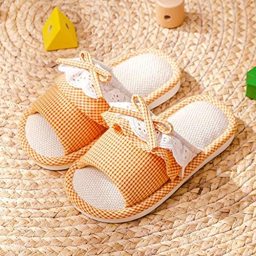 YXCKG Zapatillas De Estar por Casa De Lino, Zapatillas para Niños, Zapatillas De Verano para Niñas, Zapatillas De Dormitorio, Zapatos De PVC con Suela Blanda, Pantuflas Ligeras Antideslizante