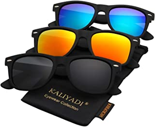 KALIYADI Polarized Sunglasses for Men and Women Matte Finish Sun glasses Color Mirror Lens 100% UV Blocking (3 Pack)