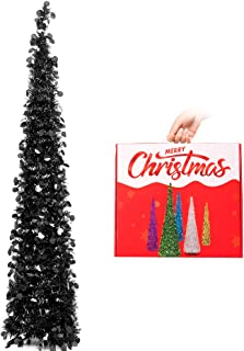 N&T NIETING 5ft Tinsel Halloween Christmas Tree, Slim Collapsible Pop Up Black Tinsel Tree for Halloween Decorations, Party Supplies, Holiday, Xmas Decor, Home Display, Office, Fireplace Indoor