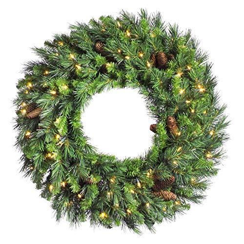 Vickerman 24' Cheyenne Pine Wreath with 50 Warm White LED Lights