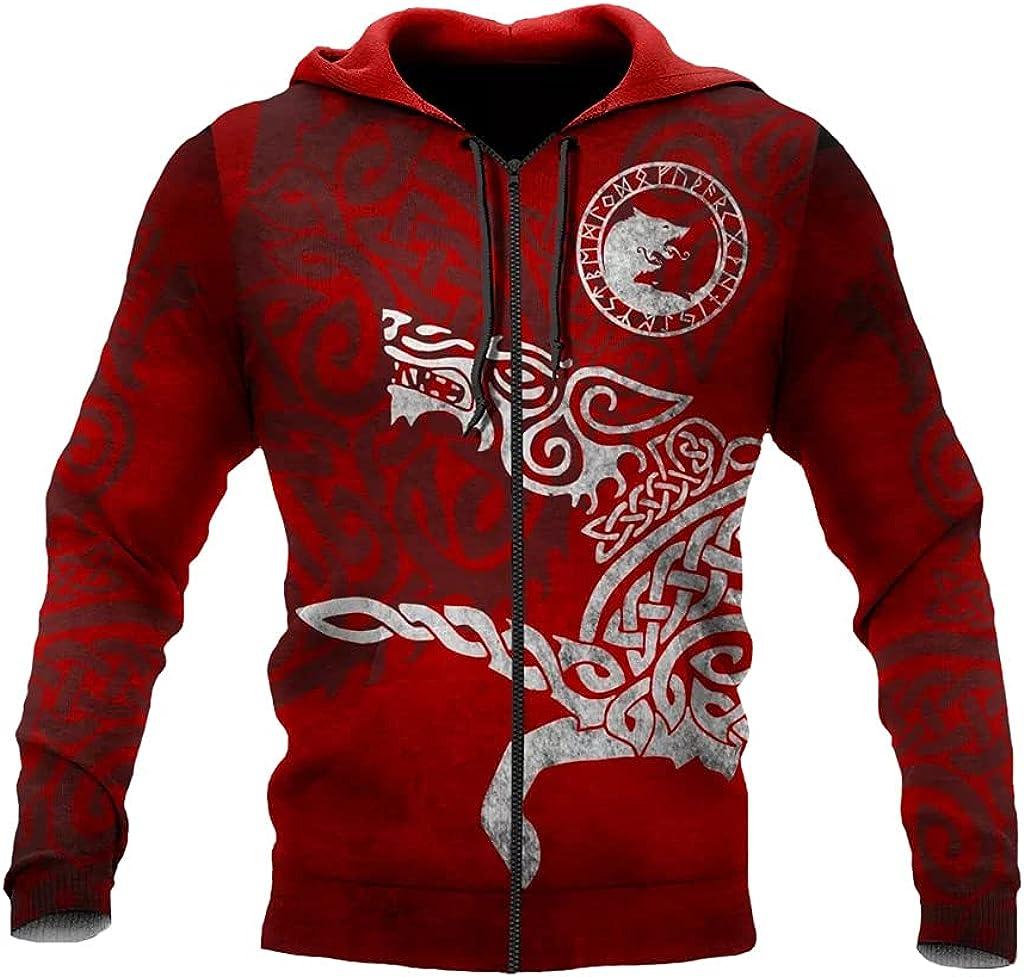 Norse Fenrir Wolf Street Hoodie,3D Printed Tattoos Drawstring Zipper Sweatshirt Fall Long Sleeve Harajuku Fashion Coat