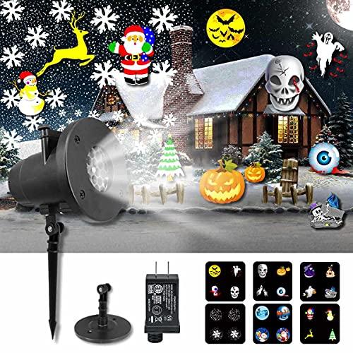 KITASST Proyector de luces de Navidad de Halloween al aire libre, lámpara de proyección de nevada, impermeable, iluminación...
