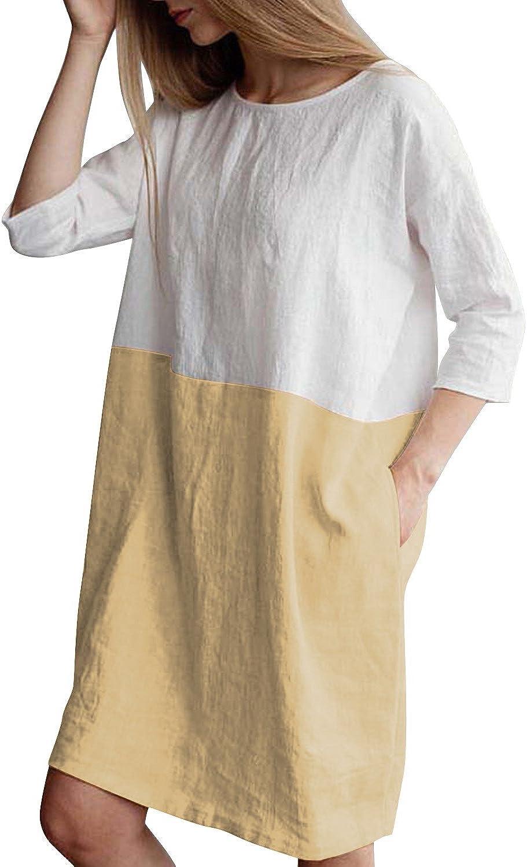 HIUPEB Women's Plus Size 3/4 Sleeve Loose Cotton Linen Top Shirt Dress S-3XL