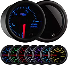 GlowShift Tinted 7 Color Adjustable Fuel Level Gauge - Black Dial - Smoked Lens - For Gas & Diesel Vehicles - 2-1/16