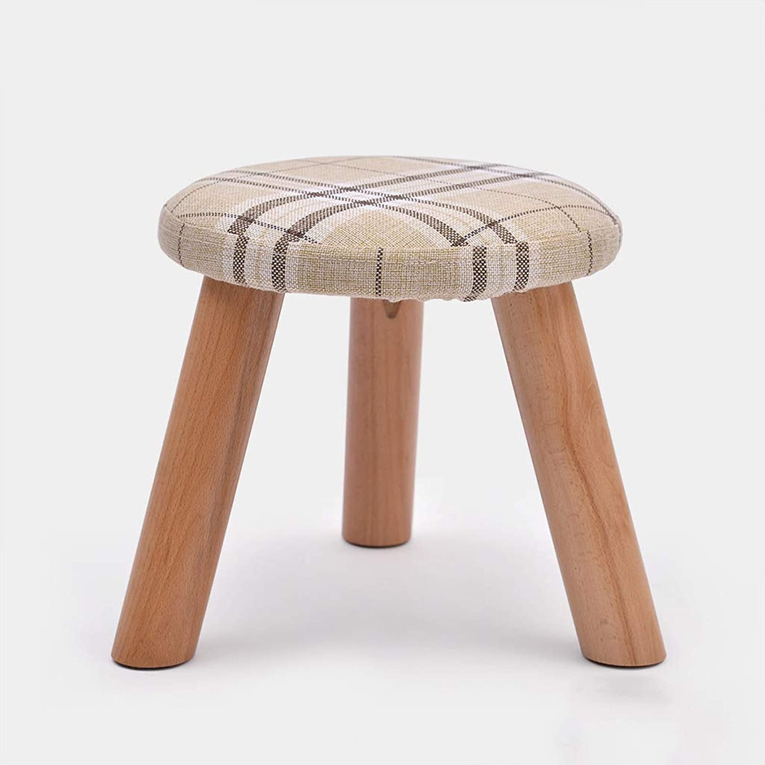 Small Stool Solid Wood shoes Bench Footstool Round Padded Footstool 3 Wooden Legs (color   C, Size   30  30cm)