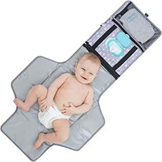 Portable Baby Diaper Changing Pad - YEAHOME Waterproof Travel Changing Table Pad for Newborn, Extended Cushioned Changing Mat with Head Pillow & Baby Stuff Pockets, Idea for Mothers Day Gifts