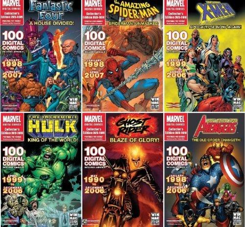 Collectors' Marvel Comics 6 Pack Super Bundle - Spider-Man, Avengers, X-Men, Hulk, Fantastic Four & Ghost Rider - Over 600 Digital Comic Books on DVD-ROM in Acrobat PDF Format (Mac & Windows)