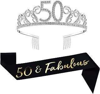 50th Birthday Decorations Party Supplies Birthday Tiara and Sash Black Glitter Satin Sash and Crystal Tiara Birthday Crown for 50th Birthday Party Supplies and Decorations 50th Birthday Cake Topper