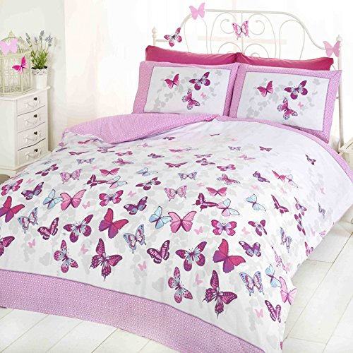 Art Flutter Butterfly Pink and White Single Duvet Cover Set Bedding Bedlinen, Cotton and Polyester