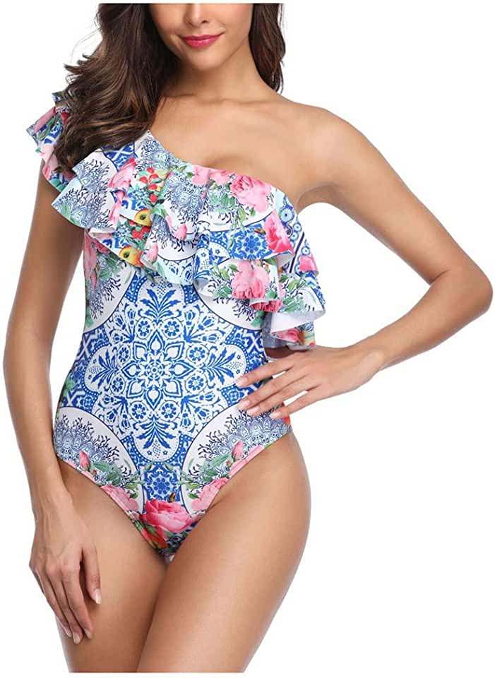 Women's One Piece Swimsuits Flounce One Shoulder Backless Print Monokinis Bathing Suit Tummy Control Bikini Tankinis