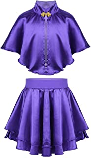 Kids Girls Princess Costume Role Play Halloween Cosplay Party Cape Top with Skirt Wristband