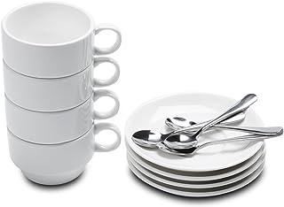 Aozita Espresso Cups and Saucers with Espresso Spoons, Stackable Espresso Mugs,12-piece..