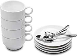 Aozita Espresso Cups and Saucers with Espresso Spoons, Stackable Espresso Mugs,12-Piece 2.5-Ounce Demitasse Cups (Protecti...