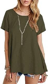 Afibi Women's Basic Short Sleeve Scoop Neck Pockets Swing Tunic Loose T-Shirt