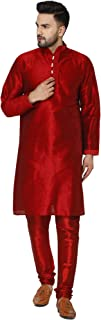 SKAVIJ Men's Art Silk Kurta Pajama Set Indian Traditional Dress