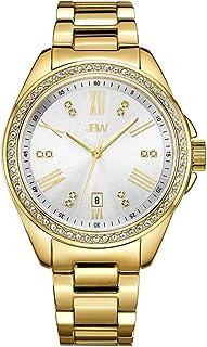 JBW Luxury Women's Capri 0.12 Carat Diamond & Swarovski Crystal Wrist Watch with Stainless Steel Bracelet Gold
