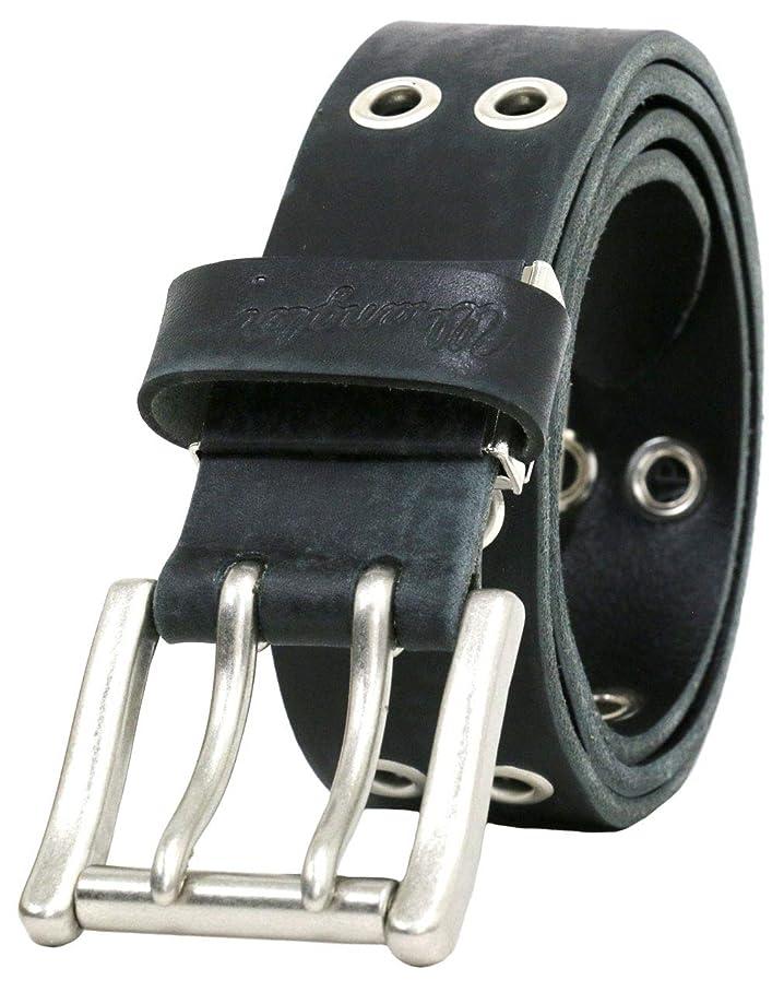 ワークショップ膨らませる対処[ラングラー] ベルト 日本製 レザー ユーズド加工 ループ ロゴ メンズ