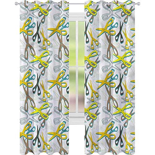 Cortina de ventana retro colorida tijeras sastrería W42 x L72 cortinas para sala de estar