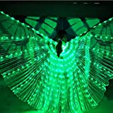 LAMF Alas LED para danza del vientre con barra telescópica iluminadas alas de mariposa brillantes para carnaval, escenario, Halloween, fiesta de Navidad