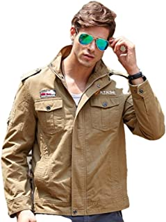 H.T.Niao Imported Jacket for Men Winter Camouflage Military Design Army Style Cotton Casual Slim Fit Stand Collar Coat Latest Fashion (9929 Khaki)