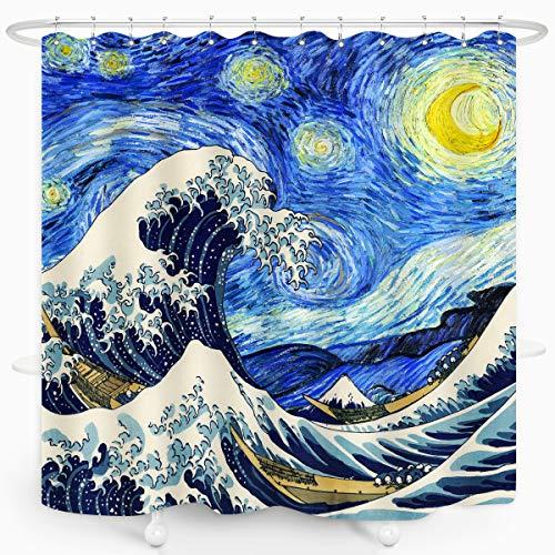 ZXMBF Van Gogh Duschvorhang Sternennacht & tolle Wellen, künstlerisch, dekorativ, für Zuhause, Badezimmer, Dekoration, wasserdicht, 183 x 183 cm