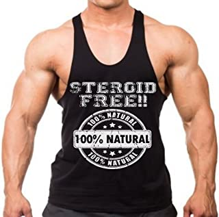 Interstate Apparel Inc Steroid Free Men's Bodybuilding Stringer Tank Top Y Back Black XS-2XL
