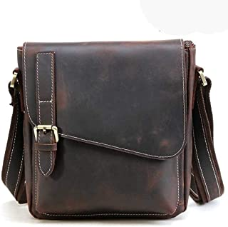 Crazy Horse Leather Men Shoulder Bag Casual Genuine Leather Men Crossbody Bag Large Cowhide Messenger Bag (Color : Dark Brown)
