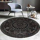 Alfombra de algodón redondo - alfombras redondas florales europeas negras - estilo retro - alfombras de alfombras redondas para salones de salones de sala de estar - para sala de estar decoración de l