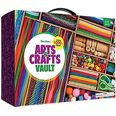 Arts and Crafts Vault - 1000+ Piece Craft Kit Library in a Box for Kids Ages 4 5 6 7 8 9 10 11 & 12 Year Old Girls & Boys - Crafting Supply Set Kits - Gift Ideas for Preschool Kids Project Activity by Dan&Darci