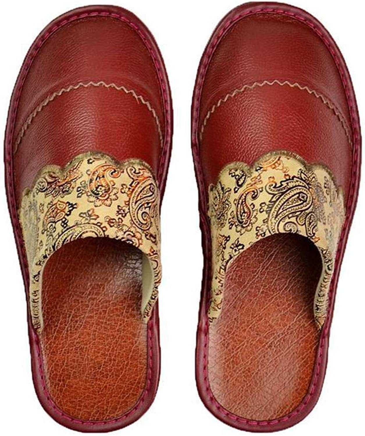 Leather Slippers Baotou Spring and Autumn Leather Home Slippers Floor Men and Women Home Indoor Sandals and Slippers,Maroon,37 38