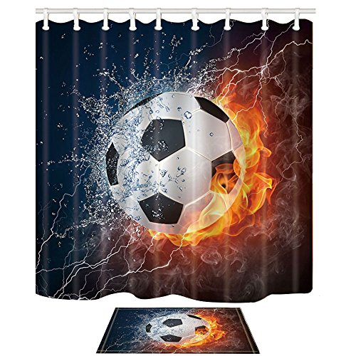 Shocur - Juego de cortinas de ducha deportivas, diseño de pelota de fútbol en el fuego y salpicaduras de agua, rayo de llama, decoración de baño, tela de poliéster de 72 x 72 pulgadas con ganchos y alfombra de baño antideslizante de 15 x 23 pulgadas