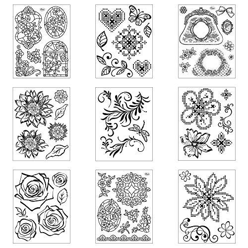 LM-Kreativ Clear Stamps 9er Set (Diverse 1) - Silikon-Stempel, Transparente Clear-Stamps, Wiederverwendbar & Anlass vorsortiert von Viva Decor