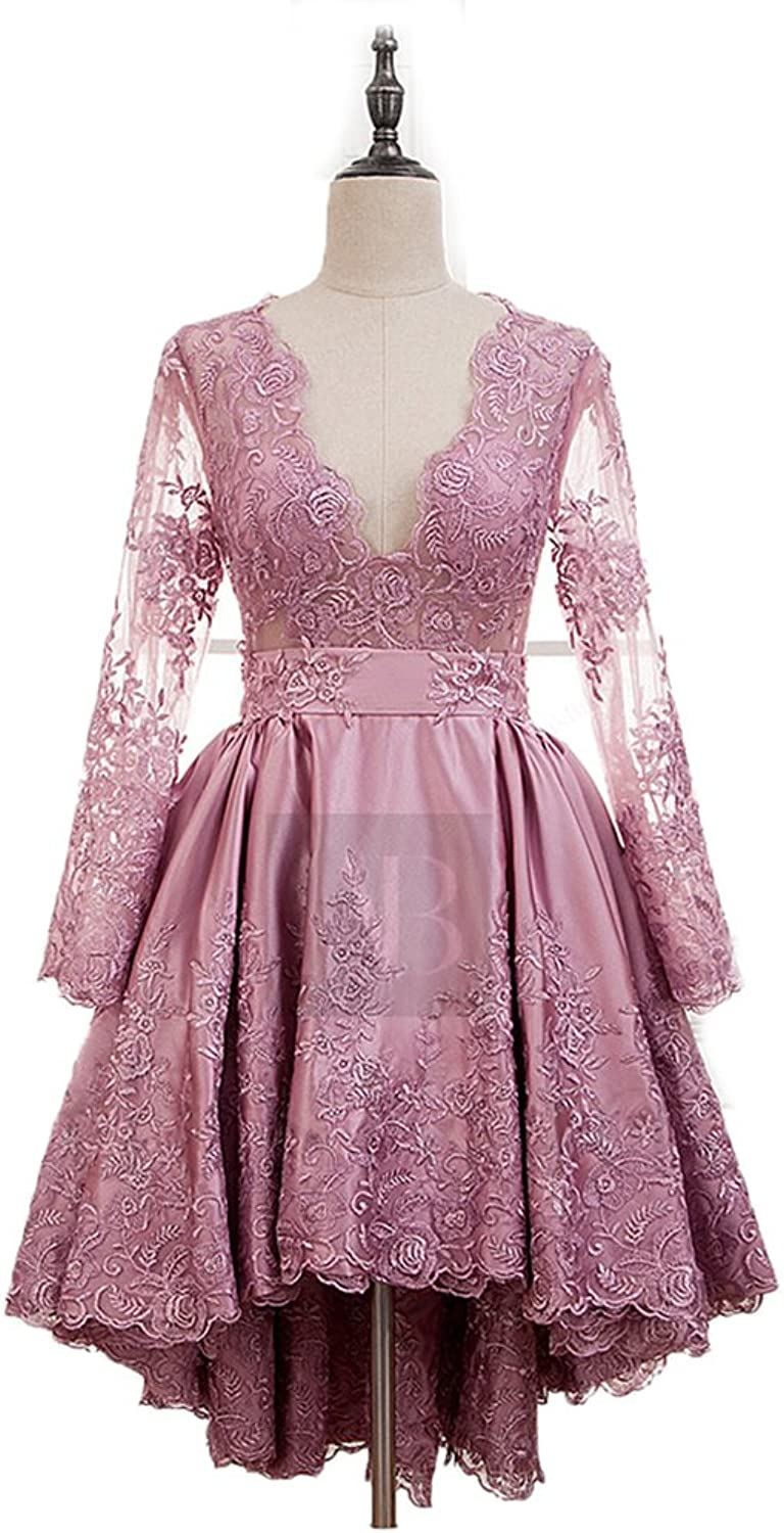 Chenghouse Lace Homecoming Dresses VNeck Long Sleeves Graduation Party Dresses
