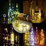 20 Stück Flaschenlicht Weinflaschen Lichter Kork Weihnachten Flasche Dekoration 200cm 20LEDs Lichterkette DIY Batteriebetrieben Stimmungslichter für Weihnachtsdeko Garten Party Schlafzimmer Tischdeko - 2