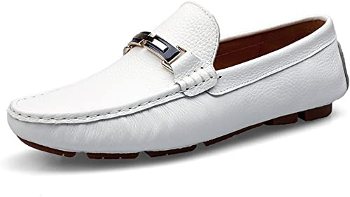 Easy Go Shopping Herren Driving Loafers Volltonfarbe Penny Stiefelschuhe Gummisohle Casual Mokassins,Grille Schuhe