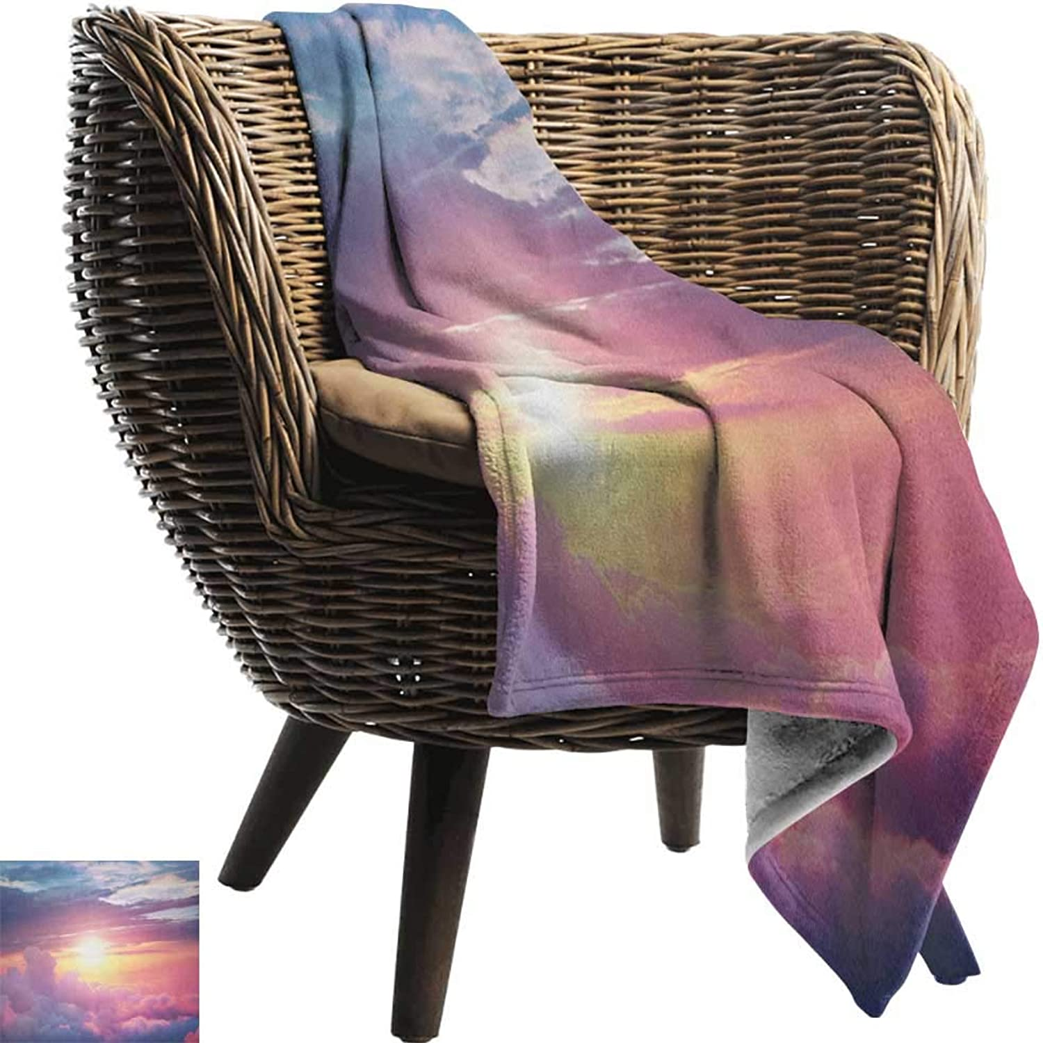 AndyTours Swaddle Blanket,Sun,Surreal Sky with Fluffy Clouds Dreamy Horizon Tranquility Panorama, Baby Pink Yellow Pale bluee,Lightweight Extra Soft Skin Fabric,Not Allergic 50 x70
